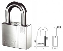 ABLOY PROTEC PADLOCK PL358/39 WITH REMOVABLE SHACKLE