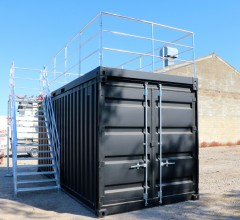 20FT open side container met terrascontainer en trap (7)