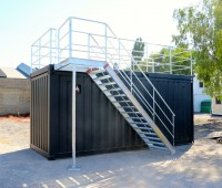 New: open side container with terrace and stairs