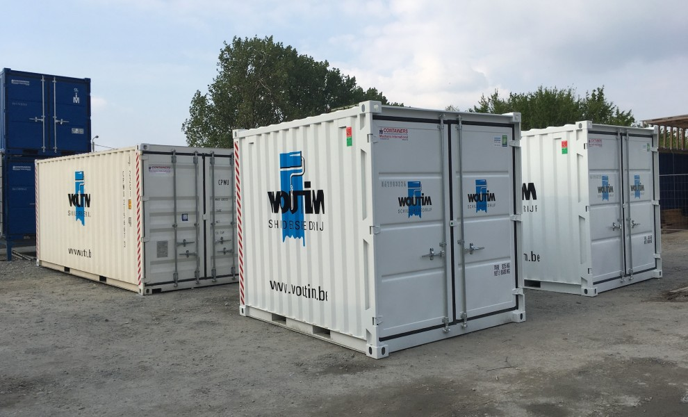 Containers with company logo