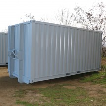 Storage container with hook arm system