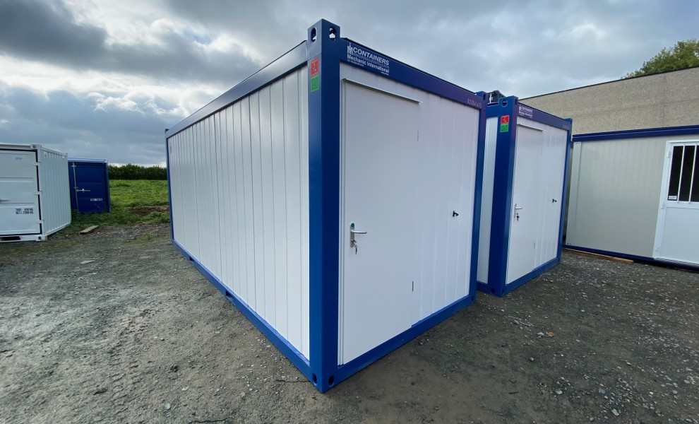 20ft office container - white with blue frame